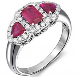 18ct White Gold Ruby and Diamond Triple Cluster Ring 18DR375-R-W