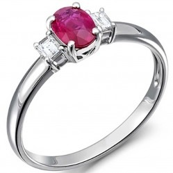 18ct White Gold Oval Ruby and Diamond Ring 18DR377-R-W