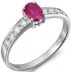 18ct White Gold Ruby and Diamond Ring 18DR378-R-W