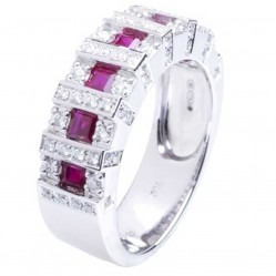 18ct White Gold Diamond and Ruby Squares Ring 18DR379-R-W
