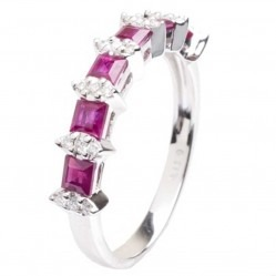 18ct White Gold Diamond and Ruby Half Eternity Ring 18DR380-R-W