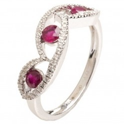 18ct White Gold Ruby and Diamond Ring 18DR381-R-W