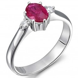 18ct White Gold Diamond and Ruby Three Stone Ring 18DR382-R-W