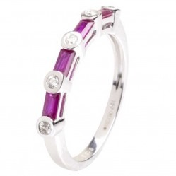 18ct White Gold Ruby and Diamond Half Eternity Ring 18DR383-R-W