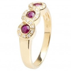 18ct Gold Triple Ruby and Diamond Fancy Ring 18DR384-R-Y