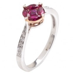 18ct Gold Multi-cut Ruby Cluster and Diamond Shouldered Ring 18DR403-R-R2C M
