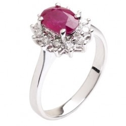 18ct White Gold Oval Ruby and Diamond Basket-set Cluster Ring 18DR410-R-W L