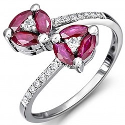 18ct White Gold Diamond Ruby Double Cross Over Ring 18DR412-R-W