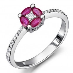 18ct White Gold Ruby and Diamond Round Cluster Ring 18DR413-R-W