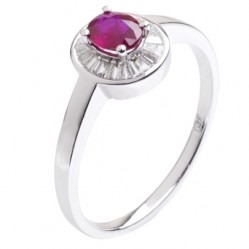 18ct White Gold Oval Ruby and Diamond Bezel-set Cluster Ring 18DR415-R-W O