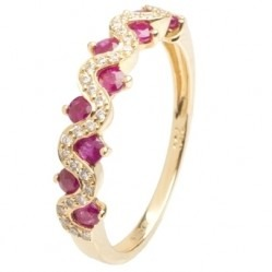 18ct Gold Ruby and Diamond Fancy Wave Ring  18DR418-R-Y O