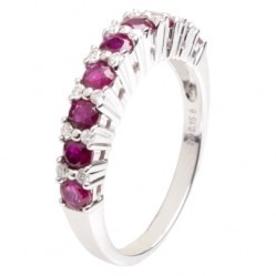18ct White Gold Ruby and Diamond Half Eternity Ring 18DR432-R-W