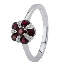 18ct White Gold Ruby and Diamond Flower Cluster Ring 18DR348/R/W