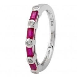 18ct White Gold Baguette-cut Ruby and Bezel-set Diamond Half Eternity Ring 18DR383/R/W/O
