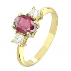 18ct Yellow Gold Oval Ruby and Princess-cut Diamond Trilogy Ring VR11759 18KY RUBY MC