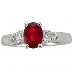 18ct White Gold Ruby and Diamond Trilogy Ring 4173WG RUBY O