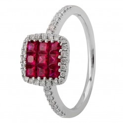 18ct White Gold Square-cut Ruby and Diamond Shouldered Cluster Ring 395114 RUBY