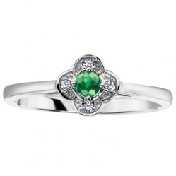 9ct White Gold Emerald and Diamond Flower Ring CH381WG-EM