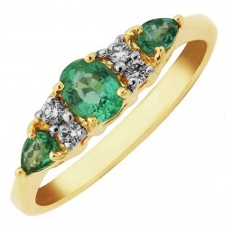 9ct Gold Seven Stone Emerald and Diamond Cluster Ring DER694 P
