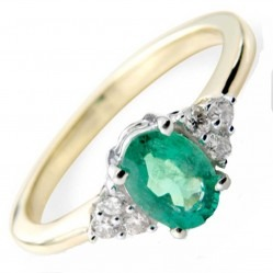 9ct Gold Oval Emerald and Diamond Cluster Ring DER761
