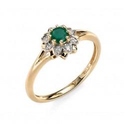 9ct Gold Emerald Diamond Flower Cluster Ring GR429G