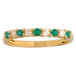18ct Yellow Gold Emerald and Diamond Half Eternity Ring CR10996 18KW/EM O