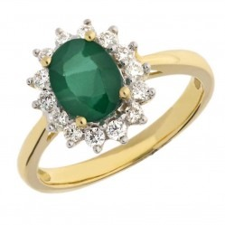 18ct Yellow Gold Oval Emerald and Diamond Cluster Ring TR10143/18KY/EM