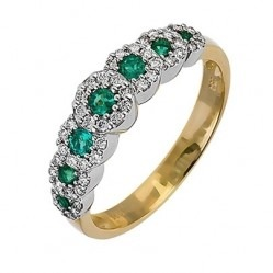 18ct Gold Emerald and Diamond Seven Cluster Ring 18DR236-E-2C N