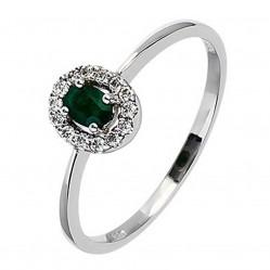 18ct White Gold Emerald Diamond Halo Ring 18DR282-E-W