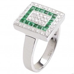 18ct White Gold Diamond Emerald Square Cluster Ring 18DR284-E-W
