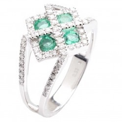 18ct White Gold Emerald Diamond Cluster Ring 18DR313-E-W