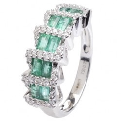 18ct White Gold Baguette-cut Emerald and Diamond Fancy Ring 18DR331-E-W L