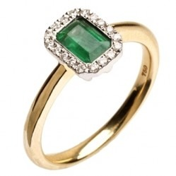 18ct Gold Emerald and Diamond Rectangular Ring 18DR334-E-2C