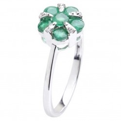 18ct White Gold Emerald Diamond Flower Cluster Ring 18DR348-E-W