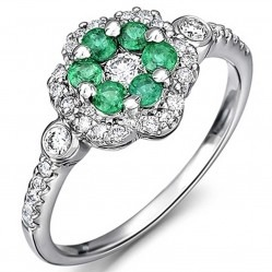 18ct White Gold Emerald and Diamond Flower Cluster Ring 18DR349-E-W