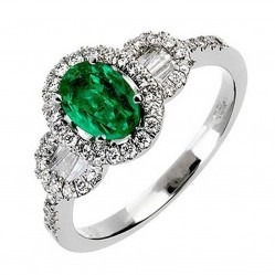 18ct White Gold Emerald and Diamond Cluster Ring 18DR365-E-W