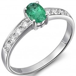 18ct White Gold Emerald and Diamond Ring 18DR378-E-W