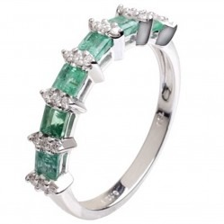 18ct White Gold Emerald Diamond Half Eternity Ring 18DR380-E-W