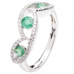 18ct White Gold Emerald Diamond Trilogy Ring 18DR381-E-W