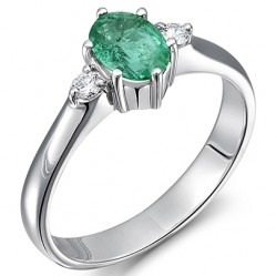18ct White Gold Oval Emerald and Diamond Trilogy Ring 18DR382-E-W K