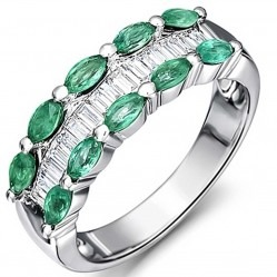 18ct White Gold Emerald Diamond Three Row Ring 18DR395/E/W