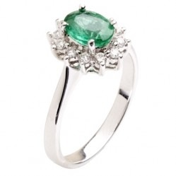 18ct White Gold Oval Emerald and Diamond Basket-set Cluster Ring 18DR410-E-W N