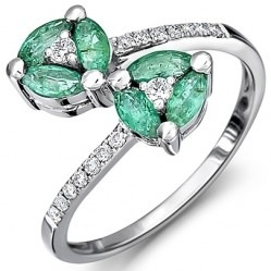 18ct White Gold Emerald and Diamond Double Cluster Crossover Ring 18DR412-E-W N