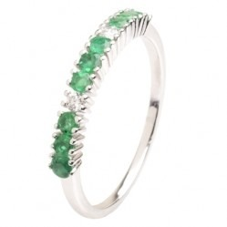 18ct White Gold Emerald and Diamond Half Eternity Ring 18DR430-E-W N