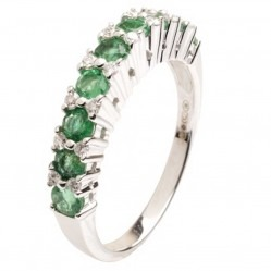 18ct White Gold Emerald and Diamond Half Eternity Ring 18DR432-E-W