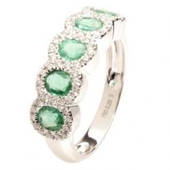 18ct White Gold Five Stone Emerald and Diamond Cluster Ring 18DR431/E/W/L