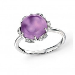 9ct White Gold Cabochon Amethyst and Diamond Flower Ring GR450M