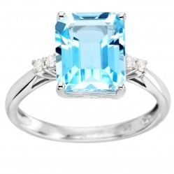 9ct White Gold Baguette-cut Blue Topaz Diamond Shouldered Ring VR14242 9KW-BT