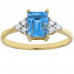 9ct Yellow Gold Baguette-cut Blue Topaz Diamond Shouldered Ring VR02957 9KY/BT