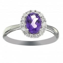 9ct White Gold Amethyst And Diamond Oval Cluster Ring CR10873 9KW/AMY